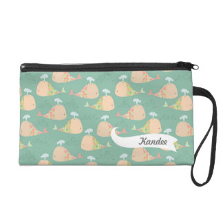Funky Whales Pattern Designer Name Wristlet Bag!