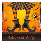 Funky Whimsical Witch Legs Halloween Party 13 Cm X 13 Cm Square Invitation Card