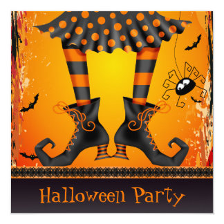 Funky Whimsical Witch Legs Halloween Party Card