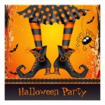 Funky Whimsical Witch Legs Halloween Party Personalised Invitations
