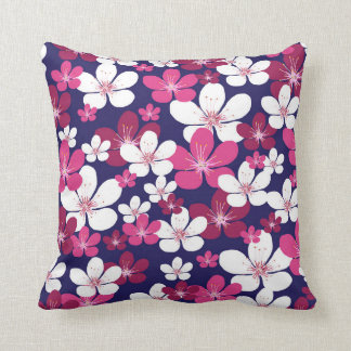 Funky white and pink cherry blossom pillow
