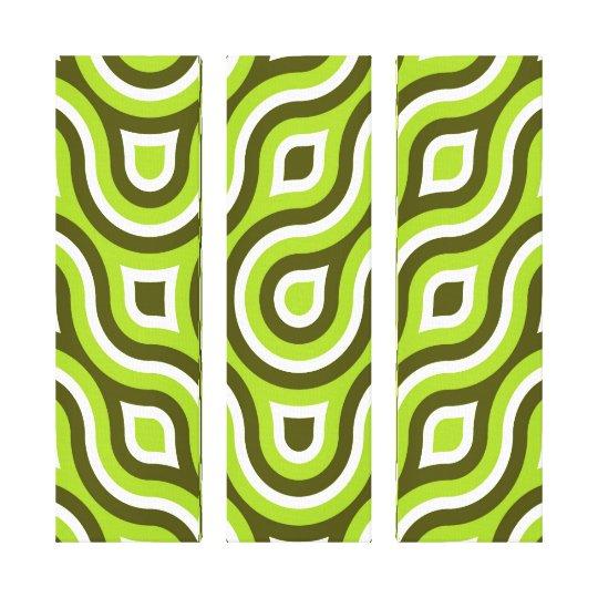 Funky Wild Circle Retro Pattern Lime Green White Canvas Print