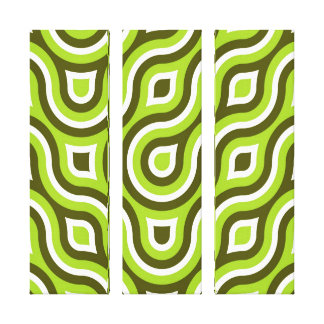Funky Wild Circle Retro Pattern Lime Green White Stretched Canvas Print