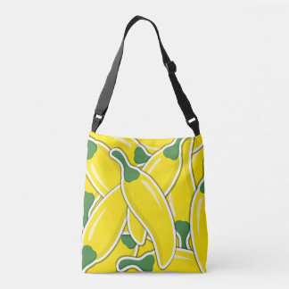 Funky yellow chilli peppers crossbody bag