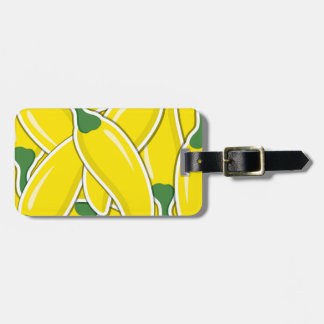 Funky yellow chilli peppers luggage tag