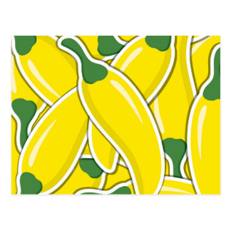 Funky yellow chilli peppers postcard