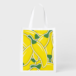 Funky yellow chilli peppers reusable grocery bag