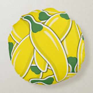 Funky yellow chilli peppers round cushion