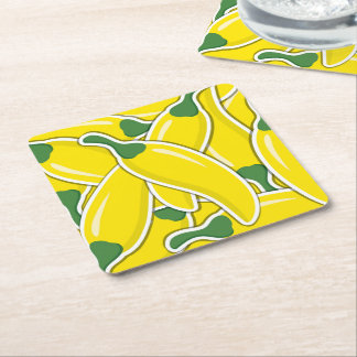 Funky yellow chilli peppers square paper coaster