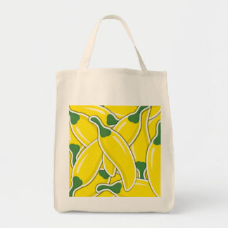 Funky yellow chilli peppers tote bag