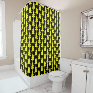 Funky Yellow Christmas Tree Shower Curtain