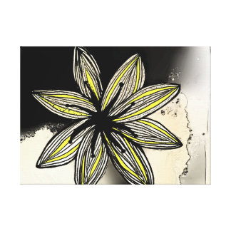 Funky yellow flower, watercolor background stretched canvas prints
