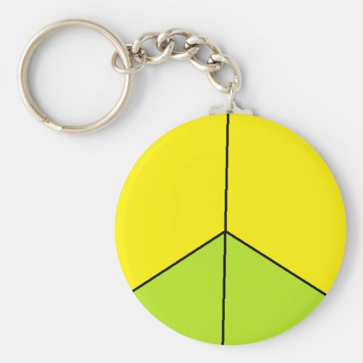 Funky yellow green peace sign key chains