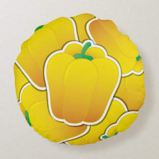 Funky yellow pepper round cushion