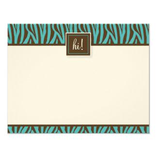 Funky Zebra Print Flat Note Cards (GGs) 11 Cm X 14 Cm Invitation Card