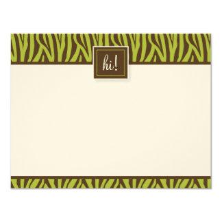 Funky Zebra Print Flat Note Cards (MTV) 11 Cm X 14 Cm Invitation Card