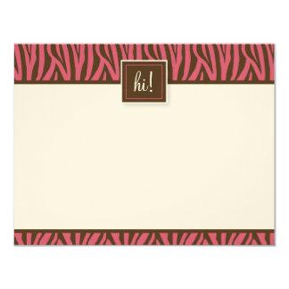 Funky Zebra Print Flat Note Cards (Oscars) 11 Cm X 14 Cm Invitation Card
