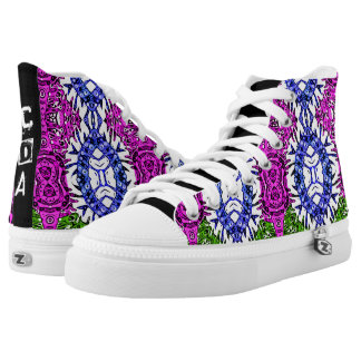Funky Zebra Print Pattern Monogram Hightop Shoes Printed Shoes