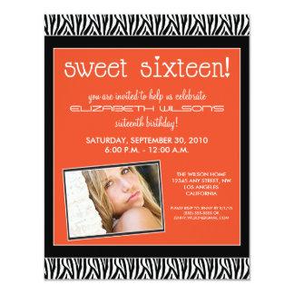 Funky Zebra Sweet 16 Birthday Party Invite: orange 11 Cm X 14 Cm Invitation Card