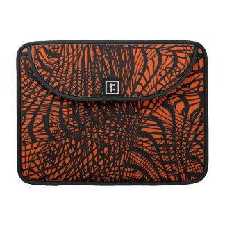 Funky Zen Tangle Orange and Black Pattern Sleeve For MacBook Pro