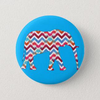 Funky Zigzag Chevron Elephant on Teal Blue 6 Cm Round Badge