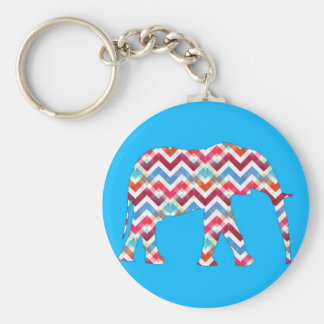 Funky Zigzag Chevron Elephant on Teal Blue Basic Round Button Key Ring