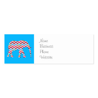 Funky Zigzag Chevron Elephant on Teal Blue Business Card Template