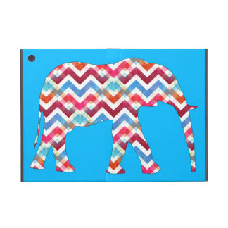 Funky Zigzag Chevron Elephant on Teal Blue iPad Mini Case