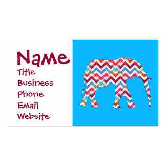 Funky Zigzag Chevron Elephant on Teal Blue Pack Of Standard Business Cards