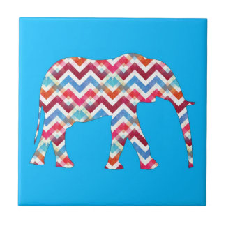 Funky Zigzag Chevron Elephant on Teal Blue Small Square Tile