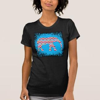 Funky Zigzag Chevron Elephant on Teal Blue T-Shirt
