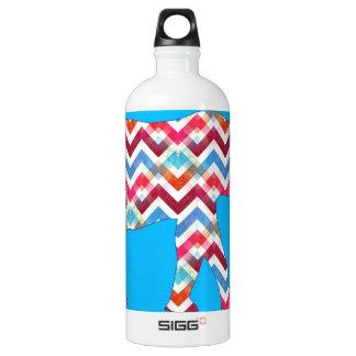 Funky Zigzag Chevron Elephant on Teal Blue Water Bottle