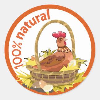 """Funny """"100% natural!"""" sticker. round sticker"""
