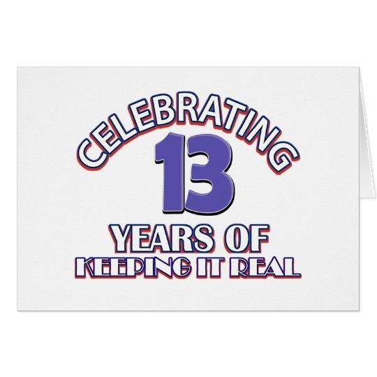 Funny 13th birthday designs card