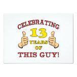 Funny 13th Birthday For Boys 13 Cm X 18 Cm Invitation Card