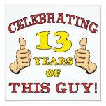 Funny 13th Birthday For Boys 13 Cm X 13 Cm Square Invitation Card