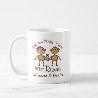Funny 13th Wedding Anniversary His Hers Mugs