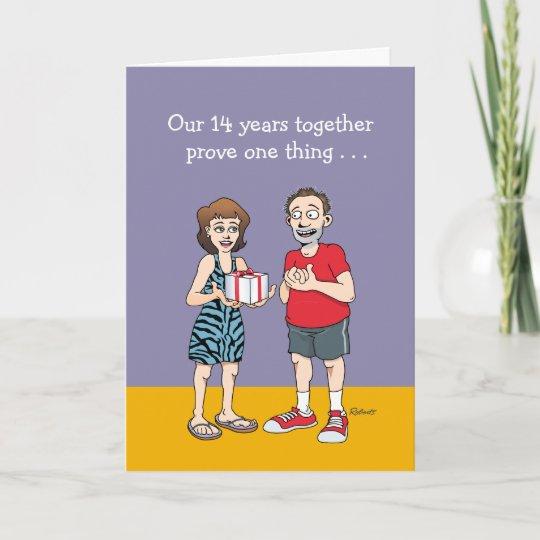 funny 14th wedding anniversary card zazzle co uk