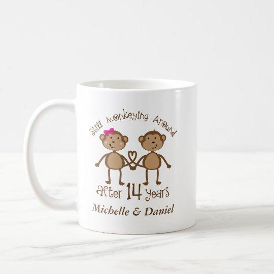 Funny 14th Wedding Anniversary His Hers Mugs