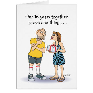 Funny 16th Wedding Anniversary: Love cartoon Card