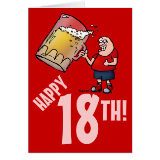 Funny 18th Birthday Card with Cartoon of Huge Beer