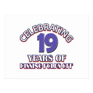 FUNNY 19 year birthday designs Postcard