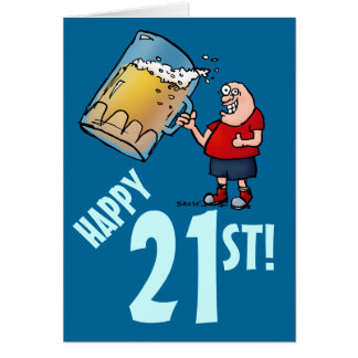 Funny 21st Birthday Card with Cartoon of Huge Beer