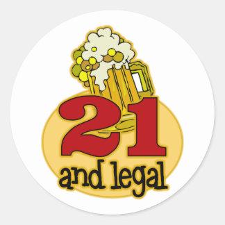 Funny 21st Birthday Gift Round Sticker