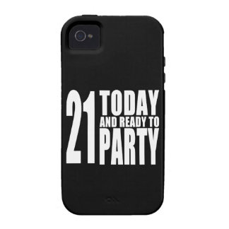 Funny 21st Birthdays : 21 Today and Ready to Party Case-Mate iPhone 4 Cover