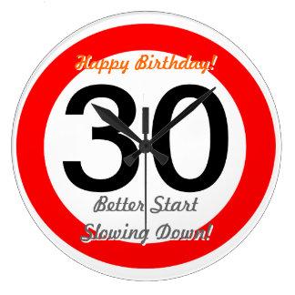 Funny 30th Birthday Joke 30 Road Sign Speed Limit Wall Clocks