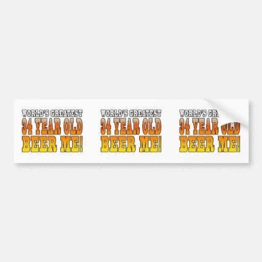 Funny 34th Birthdays : Worlds Greatest 34 Year Old Bumper Sticker