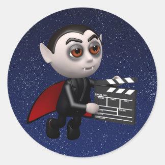 Funny 3d Dracula Vampire Movie Round Sticker