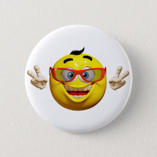 Funny 3d  emoticon with peace sign Button