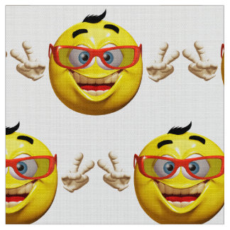 Funny 3d  emoticon with peace sign Fabric